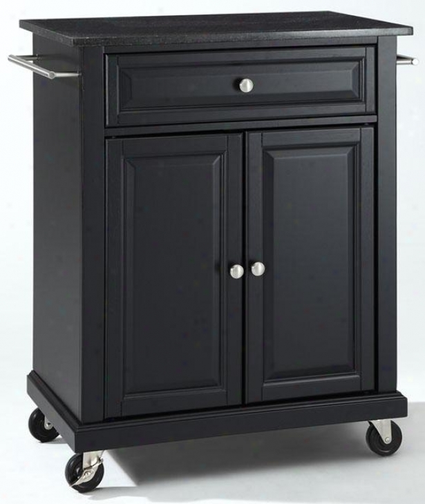 """black Kitchen Cart - 36""""hx28""""wx18""""d, Black Granite"""