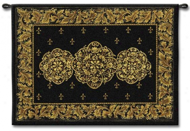 &quot;black Medallioh Tapestry - 40&quot;&quot;hx53&quot;&quot;w, Black&quot;