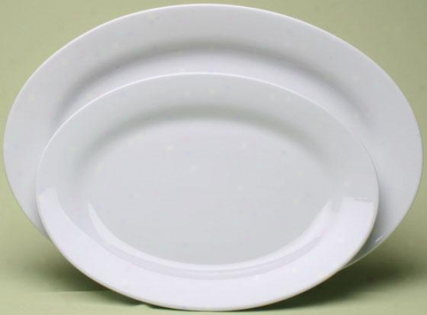 Blanco Oval Serving Platters - Set Of 2 - Set Of 2, White