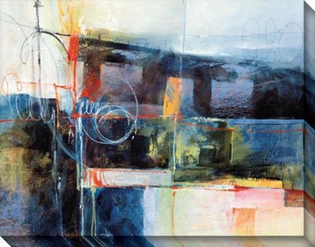 """blue Bridge Canvas Wall Art - 46""""hx36""""w, Blue"""