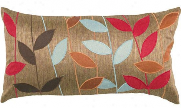 """bold Leaves Pillow - 11""""h X 21""""w, Brown"""