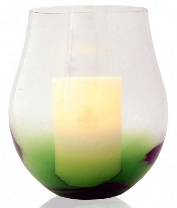 """bordeaux Flameless Hurricane Candle - 11h X 9w X 9""""d, Green"""