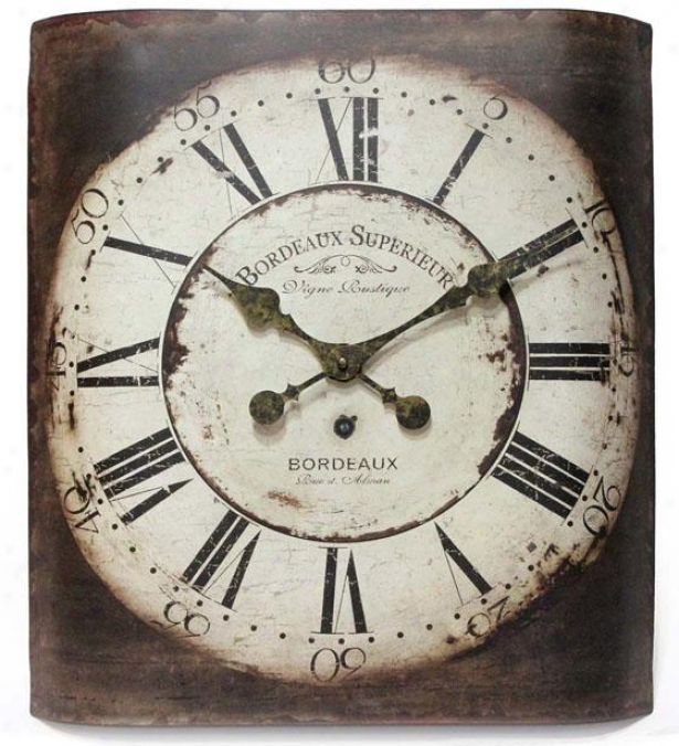 """bordeaux Wall Clock - 19.75""""hx17.25""""w, Copper"""