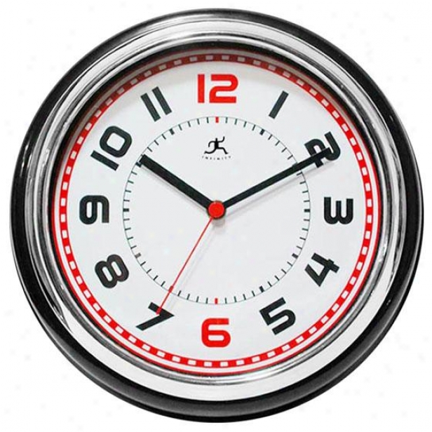 """boss Wall Clock - 11.75""""hx11.75""""w, Black/chrome/wh"""