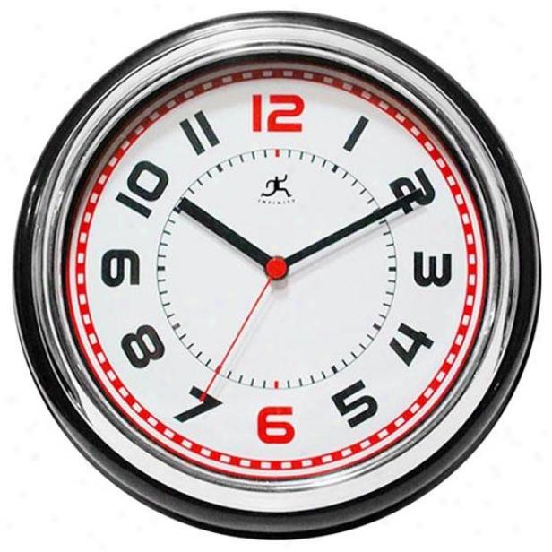 """boss Wall Clock - 11.75""""hx11.75""""w, Black/chrome/wh"""