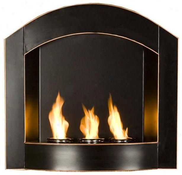 """brendan Wall Mount Fireplace - 27""""wx26""""hx6""""d, Black"""