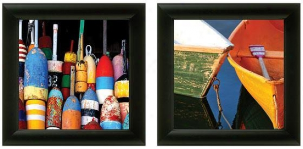 Buoys And Boats Framed Wall Art - Set Of 2 - Set Of Two, Bright Colors