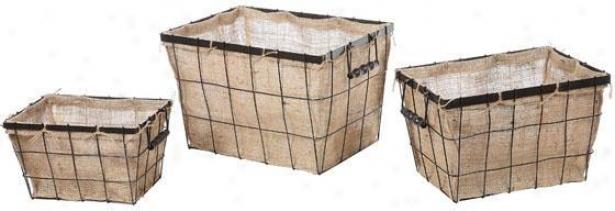 Burlap Storage Baskets - Set Of 3 - 20x13, Beige