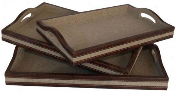 Burlap Tray - Set Of 3 - Set Of Three, Ivory