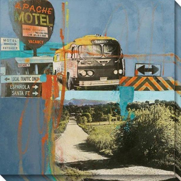 Bus To Amarillo I Canvas Wall Art - I, Blue