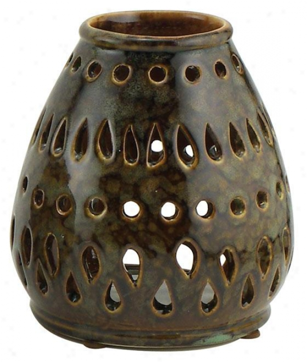 """cabo Teardrop Candleholder - 5""""hx4.5round, Moqs And Brown"""