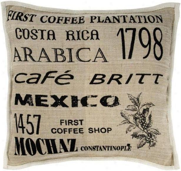 """cafe Pillow - 18"""" Square, Black"""