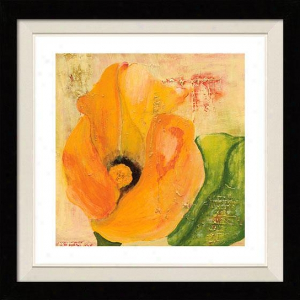 """calla Lily In Orange Frmaed Wall Art - 30""""hx30""""w, Floated Dismal"""