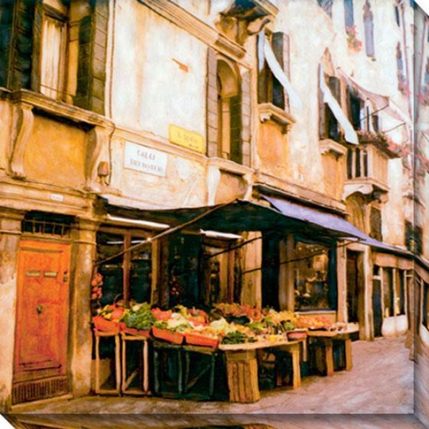 """calle Dei Botebi Canvas Wall Art - 40""""hx40""""w, Yellow"""