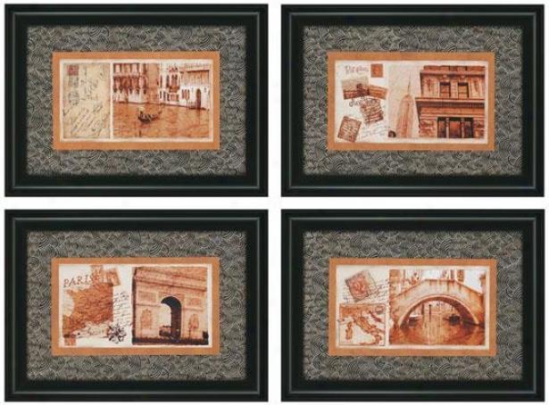 Carte Postale Wall Art - Set Of 4 - Set Of 4, Black