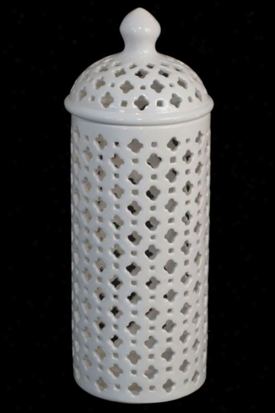 """carthage Pierced Lantern - 14""""tall, White"""