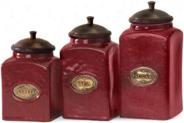 Ceramic Red Canisters - Set Of 3 - Set Of Three, Red