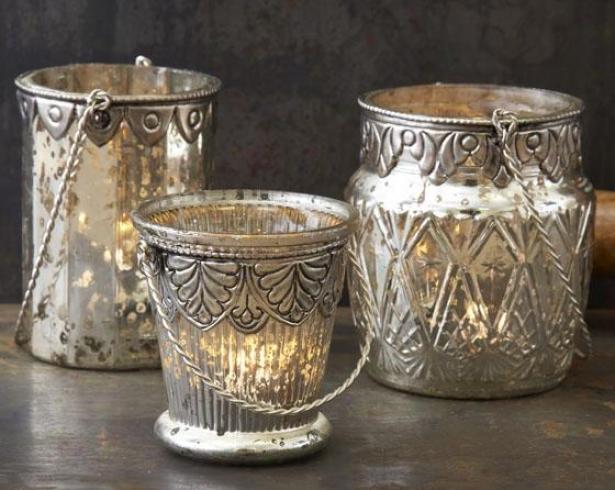 Chambord Tealight Candleholder - Set Of 3 - Set Of Three, Antique Mercury