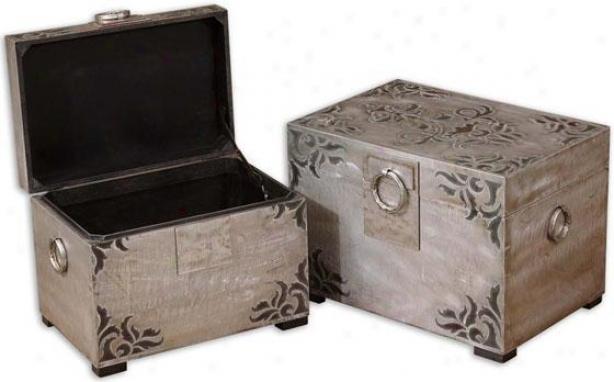 Chiwvari Boxes - Set Of 2 - Set Of 2, Black