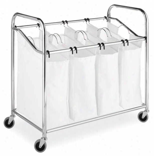 """chrome & Canvas 4-section Laundry Sorter - 33""""hx36""""wx20""""d, White/chrome"""