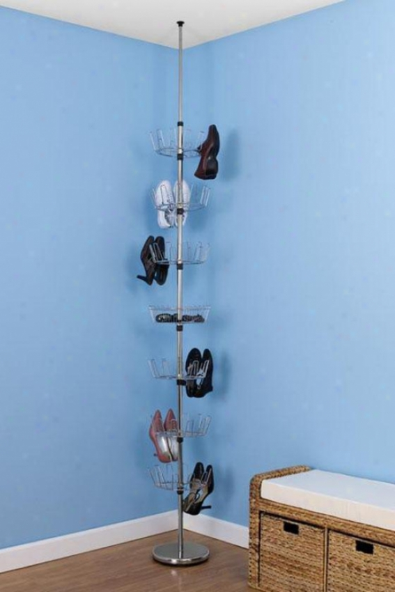 """chrome F1oor-to-ceiling Shoe Tree - 99""""hx12""""w, Silver Chrome"""