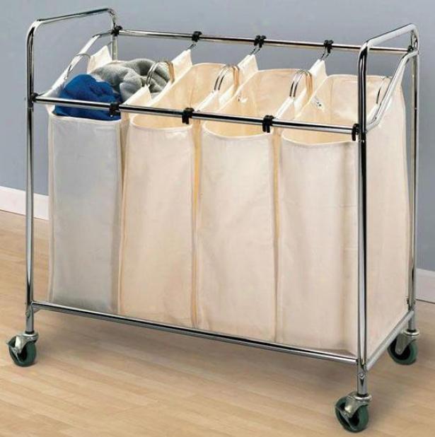 """chrome Quad Laundry Sorter - 33""""hx34""""w, Silver Chrkme"""