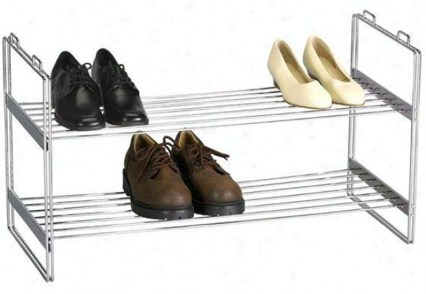 """chrome Stackable Shoe Shelf - 16.5""""hx12""""w, Silver Chromw"""
