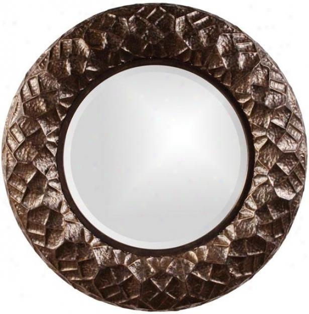 """chuck Texturized Mirror - 33""""roundx3""""d, Bronze"""