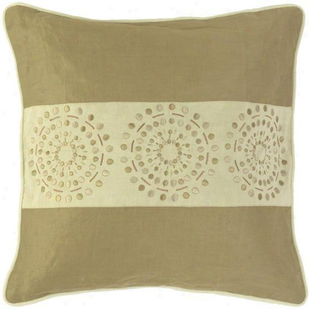 """circles And Stripes Pillowq - Impart Of 2 - 18""""x18"""", Khaki/tan"""