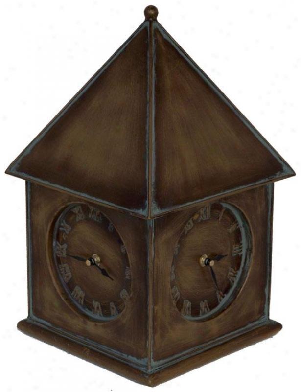 """""""clockhouse 4-sided Clock - 15.5""""""""hx9.5""""""""squa, Pumpkin"""""""