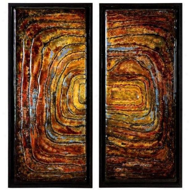 """collage Glass Wall Decor - Set Of 2 - 33.25""""hx15""""w, Earthtones"""