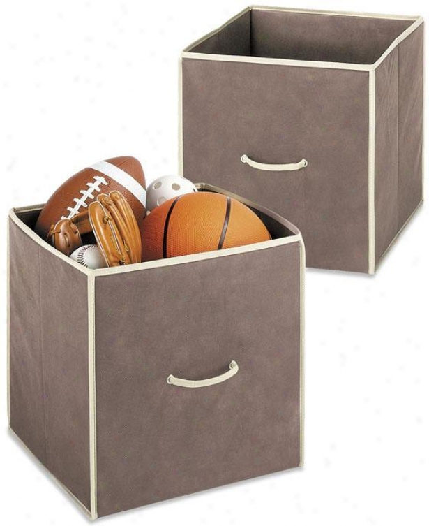 Collapsible Cubes - Set Of 2 - Set Of Two, Coffee