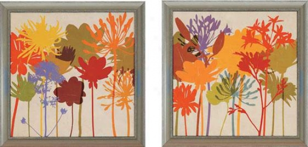 Colorful Bloom Wall Artt - Set Of 2 - Set Of Two, Multi