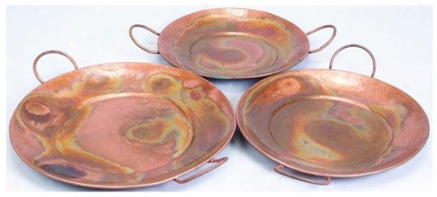 """copely Cpper Tray - Set Of 3 - Setof3/28""""25""""24, Copper"""