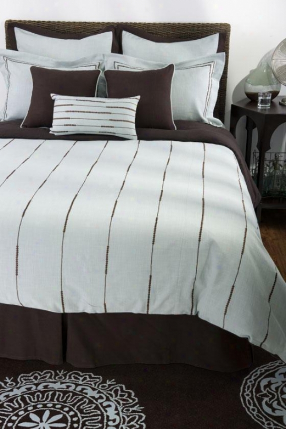Copley Bedding Set - Queen, Lt Blue/brown