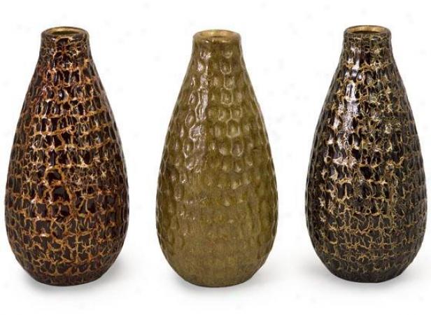 Cora Crackle Vases - Set Of 3 - Set Of 3, Earthtones