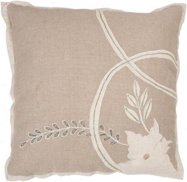 Cordelia Pillow - 18hx18w, Beige