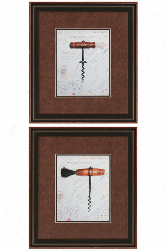 &quot;corkscrew Wall Art - Set Of 2 - 19&quot;&quot;hx17&quot;&quot;w, Brown&quot;