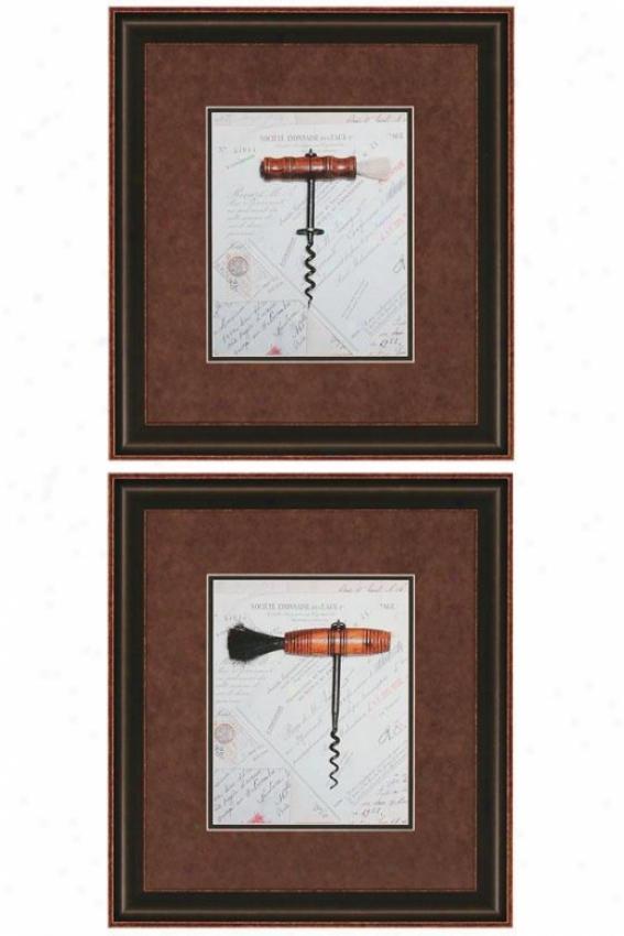 """corkscrew Wall Art - Set Of 2 - 19""""hx17""""w, Brown"""