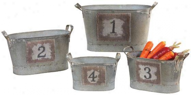 Counting Buckets - Put Of 4 - 13.5x6.55, Silver