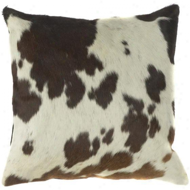 """co Calico Pillows - Immovable Of 2 - 18""""x18"""", Ecru/espresso"""