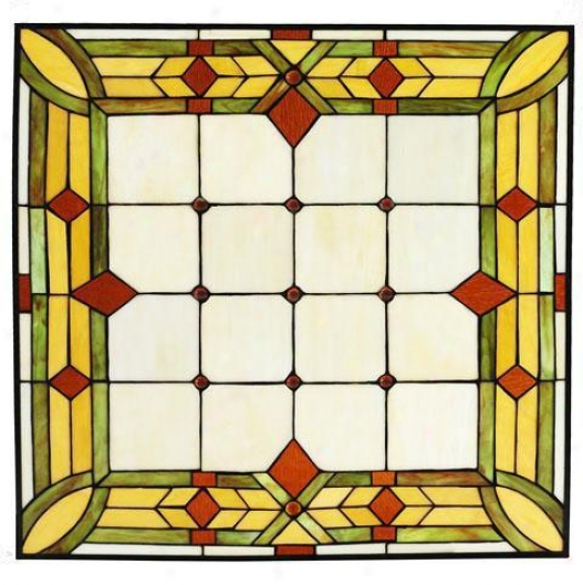 """craftsman 24"""" Square Tiffany-style Stained Art Glass Window Panel - 24"""" Square, Green"""