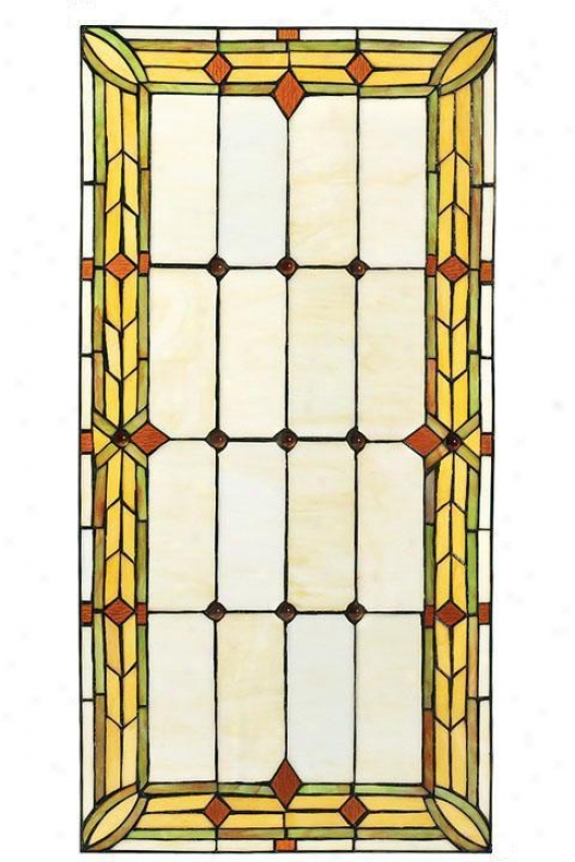 """craftsman 30""""w Rectangle Tiffany-style Stained Art Glass Wlndow Panel - Rectngl 15x30, Green"""