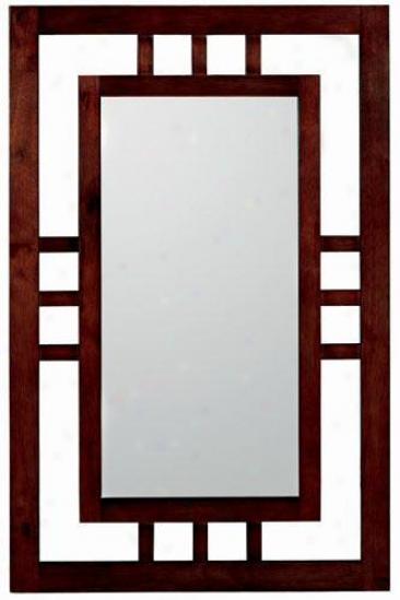 """craftsman Duo Frame Mirror - 35.5""""hx23""""w, Brown Oak"""