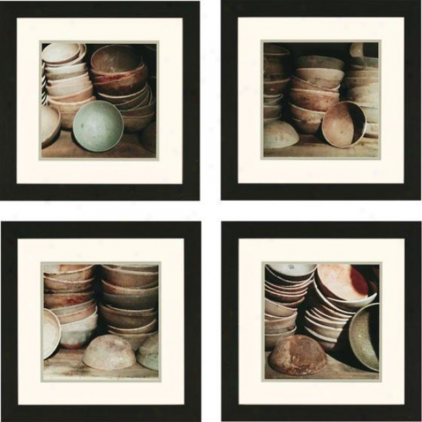 Cupboard Bowls Wall Art - Set Of Four, Ivory