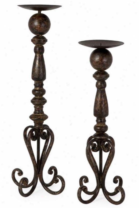 Darby Candlesticks - Set Of 2 - Set Of 2, Black