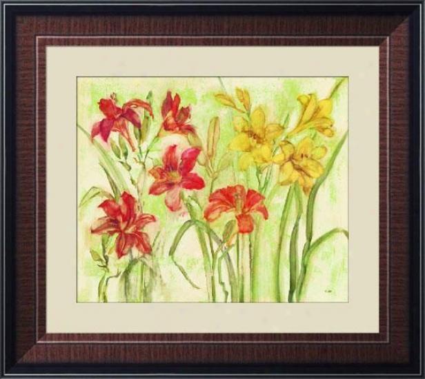 """day Lily Garden Framed Wall Art - 34""""hx38""""w, Trdnl Mhgny Frm"""