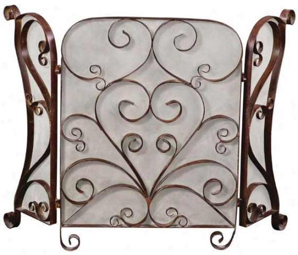 """daymeion Fireplace Screen - 33""""hx49""""w, Brown"""
