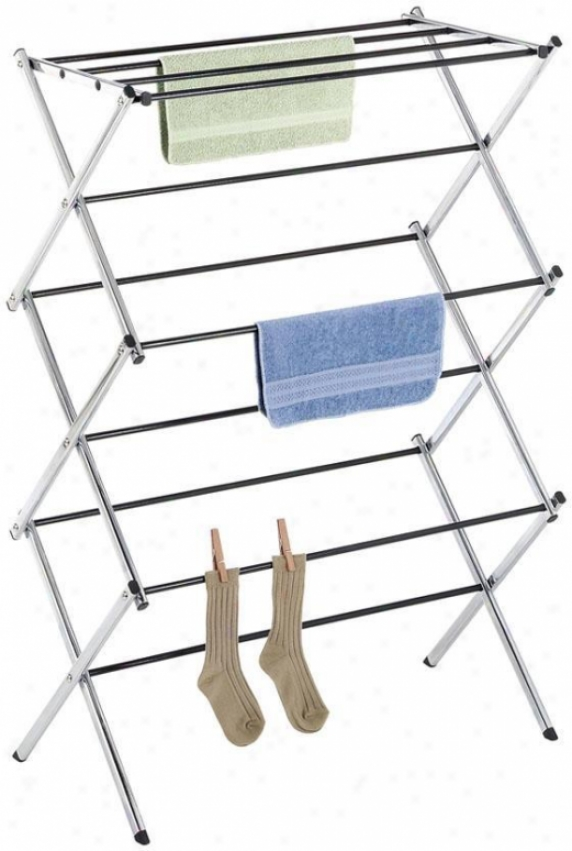 """deluxe Chrome Folding Drying Rack - 42""""hx29.5""""w, Silver Chrome"""