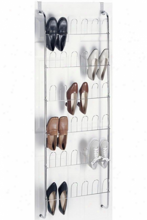 """delude Chrome Over-the-door Shoe Rack - 68""""hx22.5""""w, Silver Chrome"""